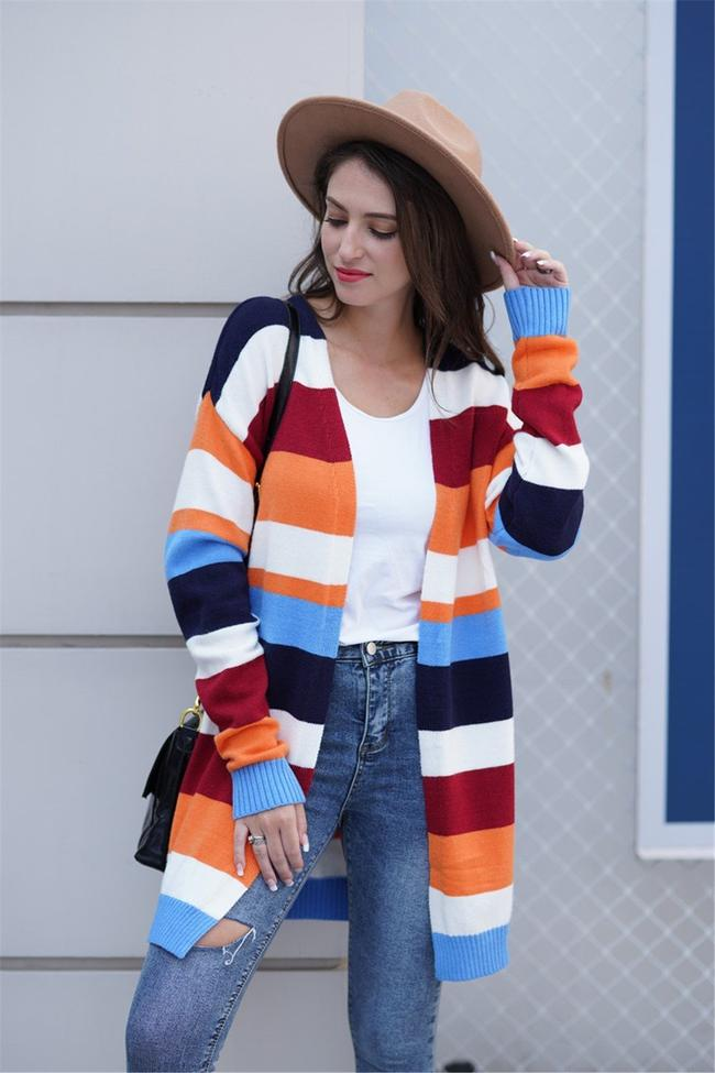 Stripped Mid-Length Open Front Cardigan