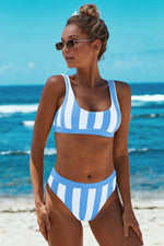 Load image into Gallery viewer, Chic Striped Vest Bikini Set