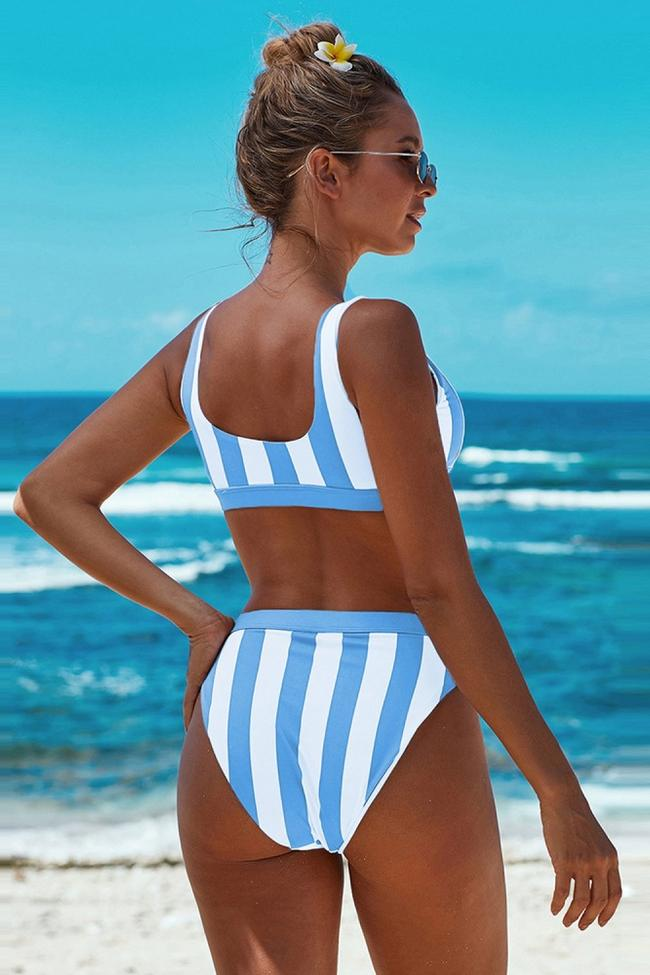 Chic Striped Vest Bikini Set
