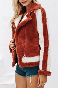 Plush Faux Fur Zipper Jacket