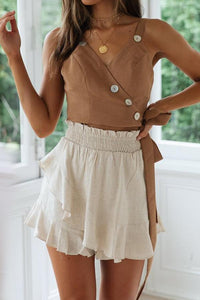 Strap Strap Button V Collar Vest