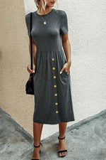 Load image into Gallery viewer, Button Casual Plain Knitting Dress