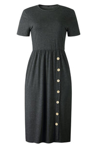Button Casual Plain Knitting Dress