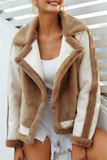 Load image into Gallery viewer, Plush Faux Fur Zipper Jacket