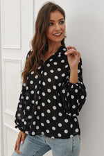 Load image into Gallery viewer, Polka Dot Lantern Sleeve Blouse