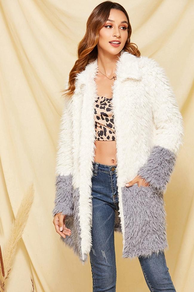 Streetwear Open Front Fluffy Coat