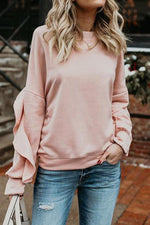 Load image into Gallery viewer, Flounce Sleeve Round Neck Sweatshirt