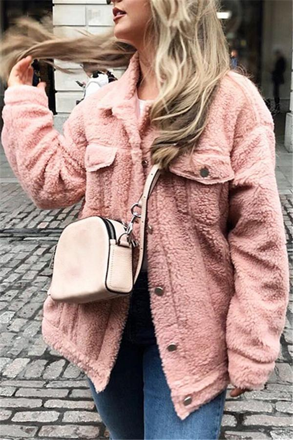 Trendy Furry Lamb Wool Fur Coat