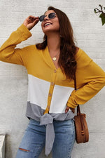 Load image into Gallery viewer, V Neck Color Block Cardigan