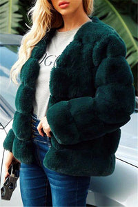 Elegant Thick Fluffy Faux Fur Coat