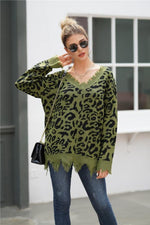 Load image into Gallery viewer, Leopard V Neck Loose Sweater