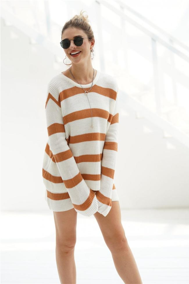 Casual Striped Loose Knit Top And Shorts Set
