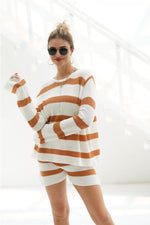 Load image into Gallery viewer, Casual Striped Loose Knit Top And Shorts Set