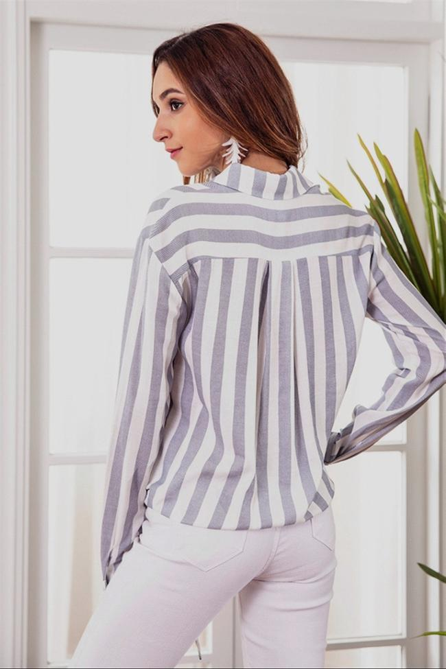 Casual Striped Front Knot Shirt