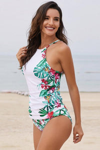 Leaves Print Camisole Bikini Set