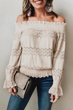 Load image into Gallery viewer, Casual Off Shoulder Lace Blouse