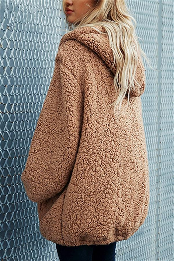 Faux Lambswool Thick Hooded Teddy Coat