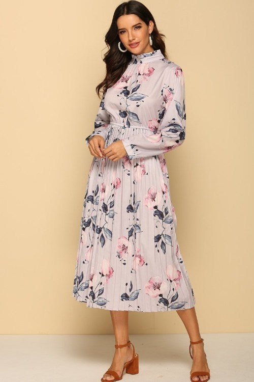 Pleated Long Sleeves Lilac Dress – Floral Printed
