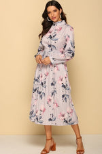 Load image into Gallery viewer, Pleated Long Sleeves Lilac Dress – Floral Printed