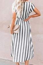 Load image into Gallery viewer, Stripe Wrap Midi Dress