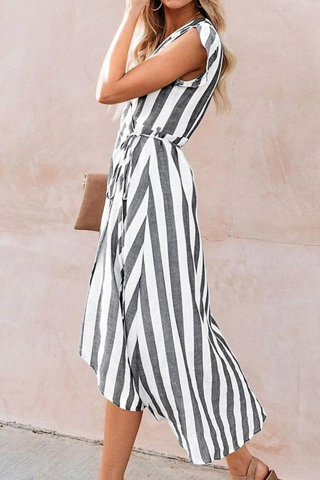 Stripe Wrap Midi Dress