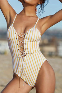 Vintage Striped Bandage One-Piece Swimsuit