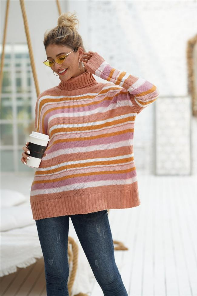 Striped High Neck Loose Sweater