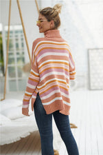 Load image into Gallery viewer, Striped High Neck Loose Sweater