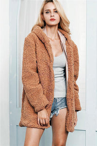 Hooded Long Faux Fur Coat