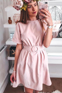 High Waist Belt Batwing Sleeve Short Dress