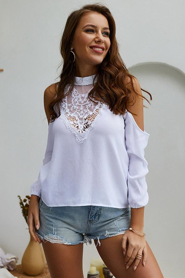 Plain Cold Shoulder Lace Blouse