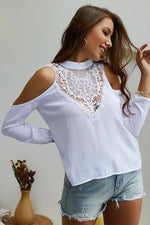 Load image into Gallery viewer, Plain Cold Shoulder Lace Blouse