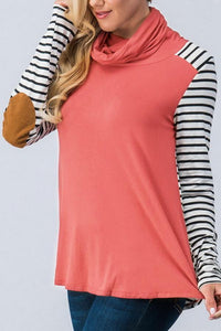 Patchwork Striped Fold Collar Long Sleeve Top