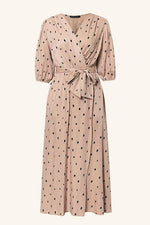 Load image into Gallery viewer, Polka Dot Wrap Puff Sleeve Dress