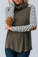 Load image into Gallery viewer, Patchwork Striped Fold Collar Long Sleeve Top