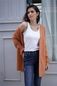 Plain Puff Sleeve Loose Short Cardigan