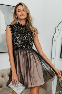 Embroidery Sleeveless Lace Short Dress