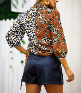 Leopard Three Quarter Length Sleeve Blouse