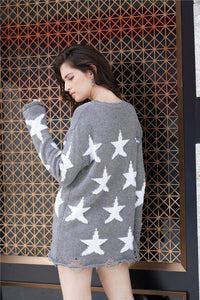 Round Neck Star Loose Sweater