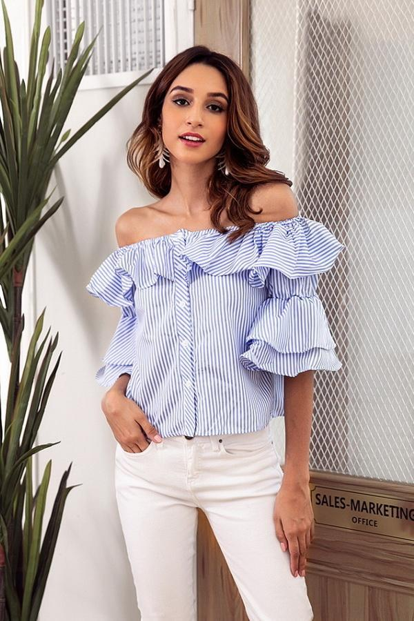 Off Shoulder Flounce Single Breasted Shirt
