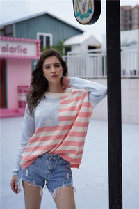 Striped Low High Loose Sweater
