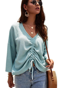 Plain V-Neck Lonng Sleeve Sweater
