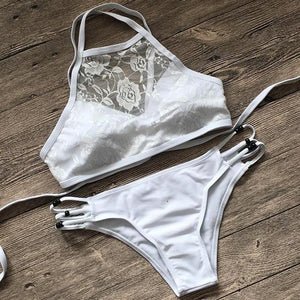 Halter Lace Cut Out Bikini Set