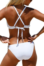 Load image into Gallery viewer, Halter Lace Cut Out Bikini Set