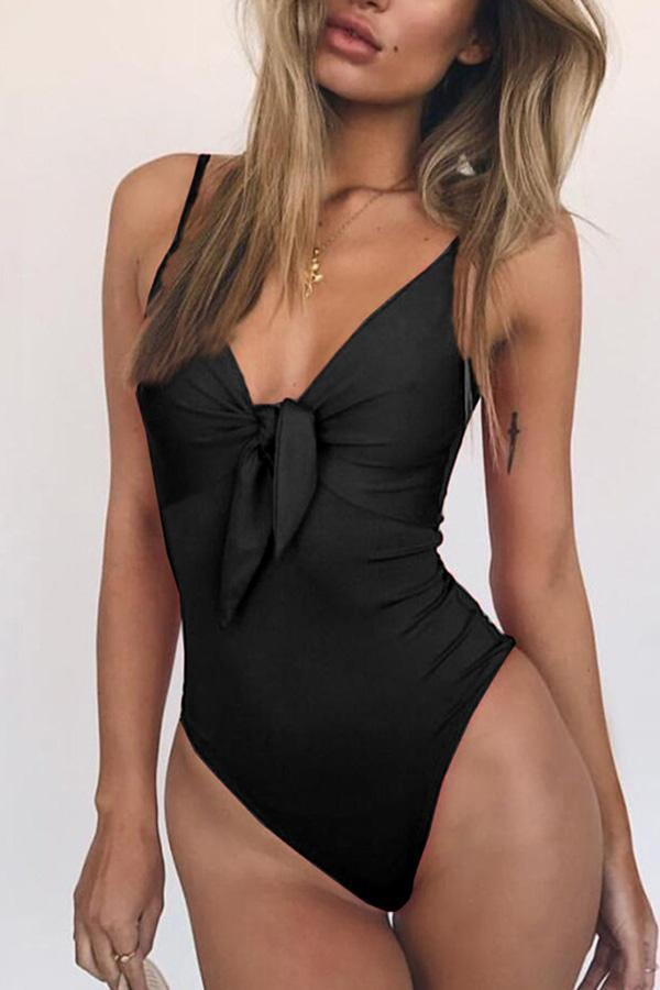 Pure Color Front Knotted One-Piece Swimsuit