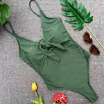Load image into Gallery viewer, Pure Color Front Knotted One-Piece Swimsuit