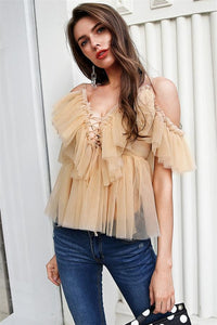 V-Neck Strap Boho Mesh Blouse Shirt