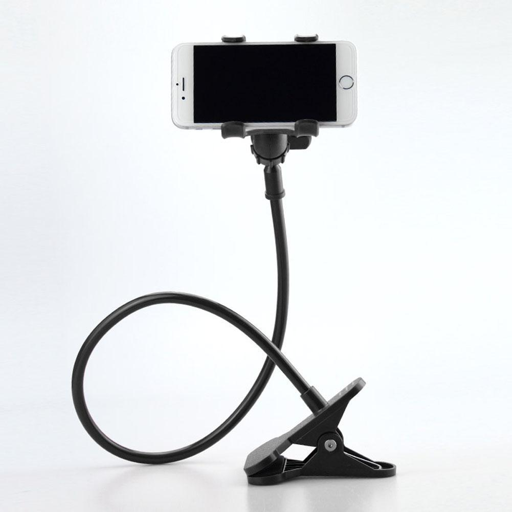 Flexible clip on phone holder