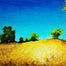 acrylic painting in Summer colours, blue and yellow by Rhia Janta-Cooper
