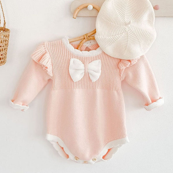 Girls Autumn/Winter Bowknot Romper